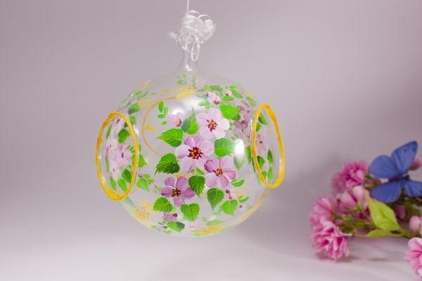 Christbaumkugeln Rosa Glas.Fensterkugel Glaskugel Mandelblüte Rosa Inkl Led Teelicht