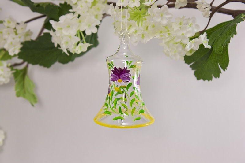 Glasglöckchen 4 cm mit Blumenmotiv in fuchsia