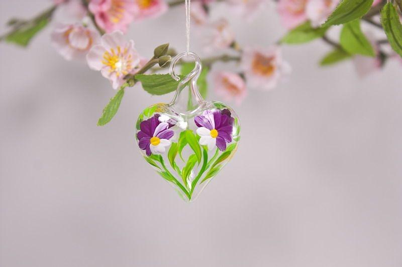 Mini-Herz 3,5 cm Miniatur Herz aus Glas Glasherz fuchsia