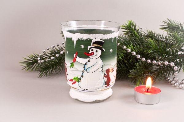 Windlichtbecher Schneemann mit zwei Hasen grün
