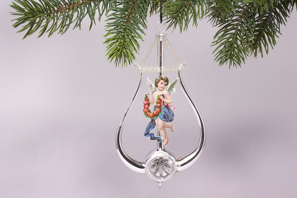 Lyra mit Engel blau - antike Weihnachtskugeln neu belebt