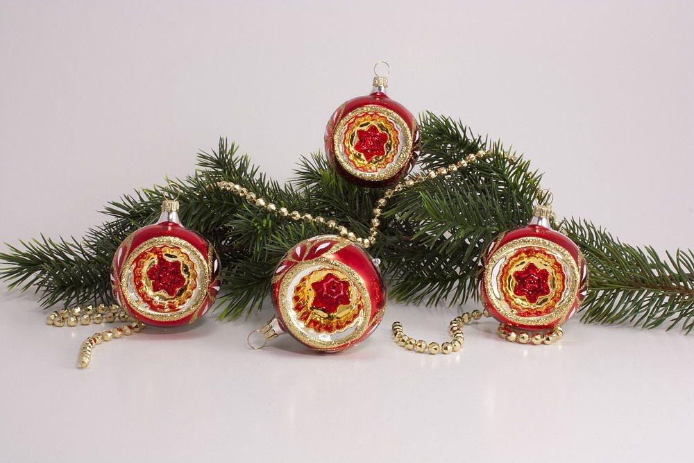 4 Reflexkugeln 6 Cm Im Set Rot Gold Christbaumkugeln
