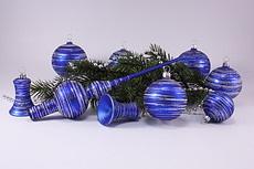 Christbaumschmuck blau matt geringelt