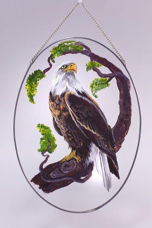 Glasscheibe zum Aufhängen mit handgemaltem Motiv Seeadler