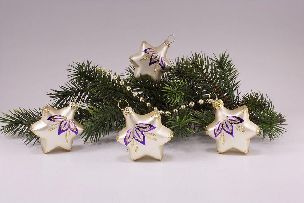 4 Sterne Champagner matt halbe Blume violett