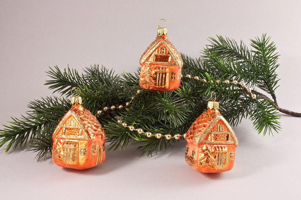 3 Häuschen aus Glas orange
