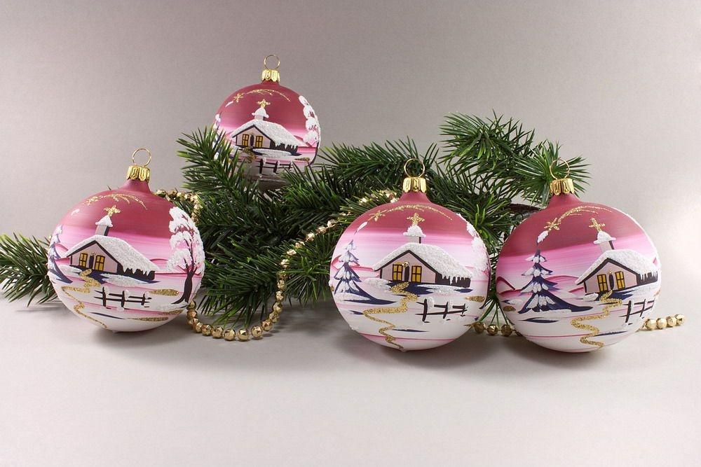 4 Weihnachtsbaumkugeln 8cm mit Landschaft rot