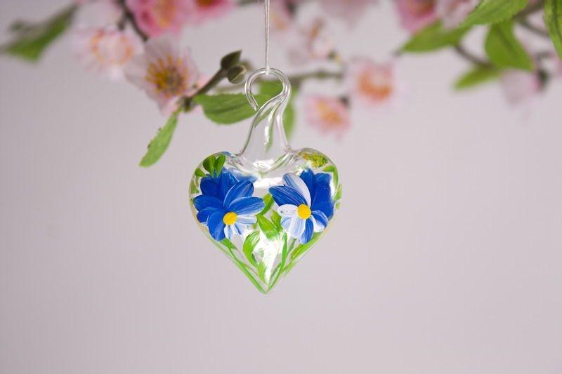 Mini-Herz 3,5 cm Miniatur Herz aus Glas Glasherz blau