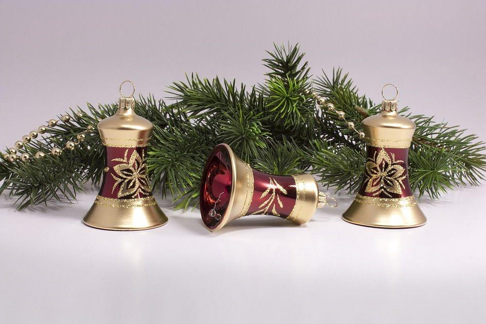 3 Glöckchen 4cm Stierglanz mit Bronzedekor