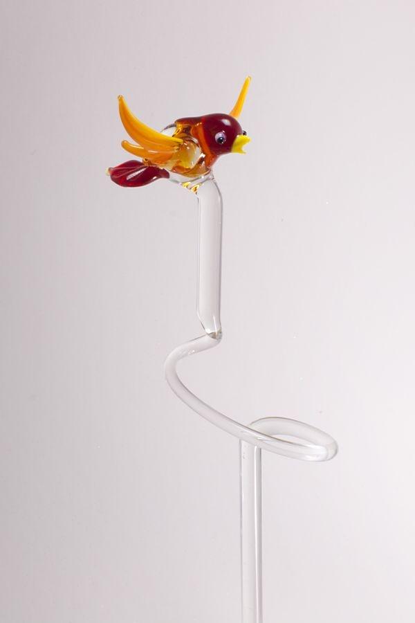 Orchideenstab ca. 40 cm mit Vogel rot orange