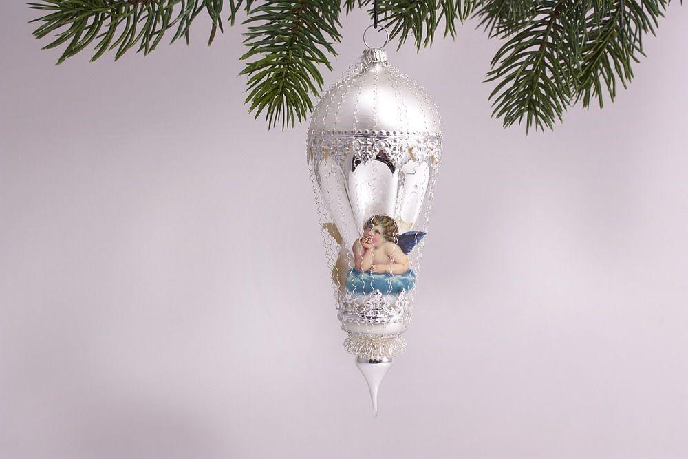 Antik style kleiner ballon mit engel in blau for Nostalgische weihnachtskugeln