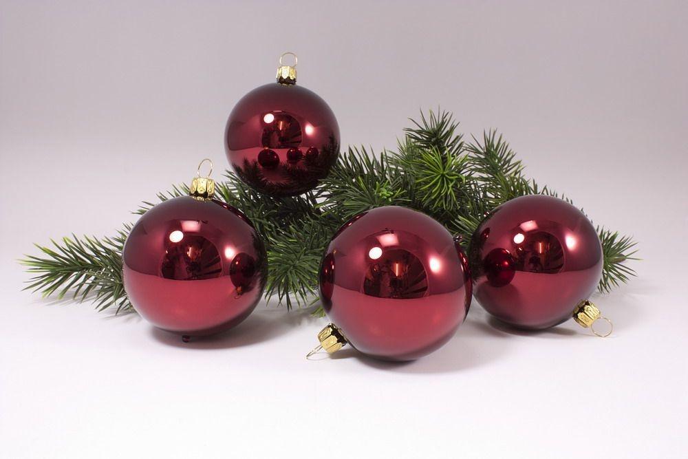 4 große Weihnachtskugeln 10cm Stierglanz uni