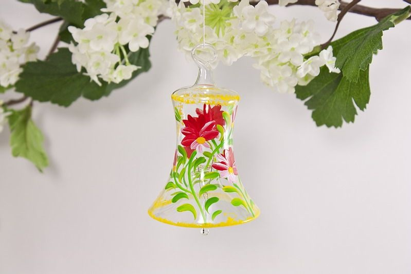 Glasglöckchen 4 cm mit Blumenmotiv in rot