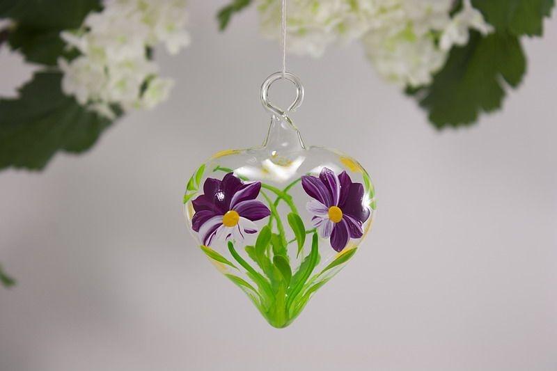 Glasherz Herz 5 cm aus Glas - Blume fuchsia
