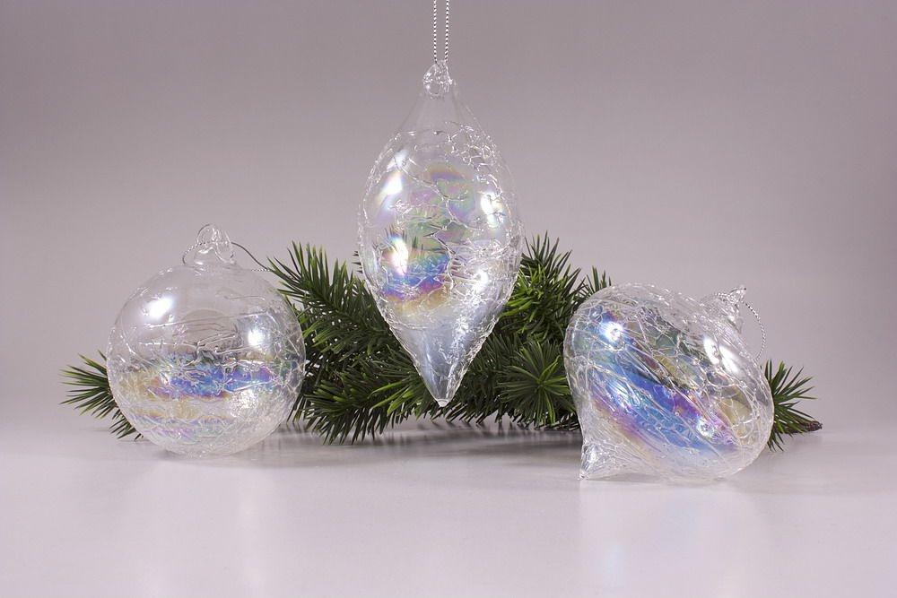 3 Glaskugeln im Set mit Seifenblasen-Optik in klar