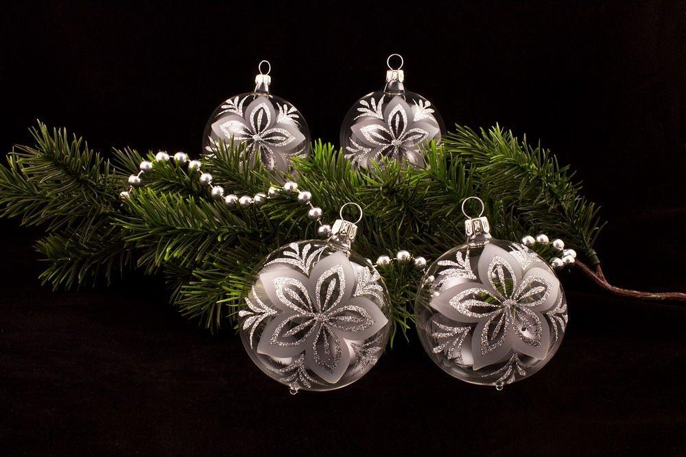 4 große Weihnachtskugeln 10cm transparent silber Chr.
