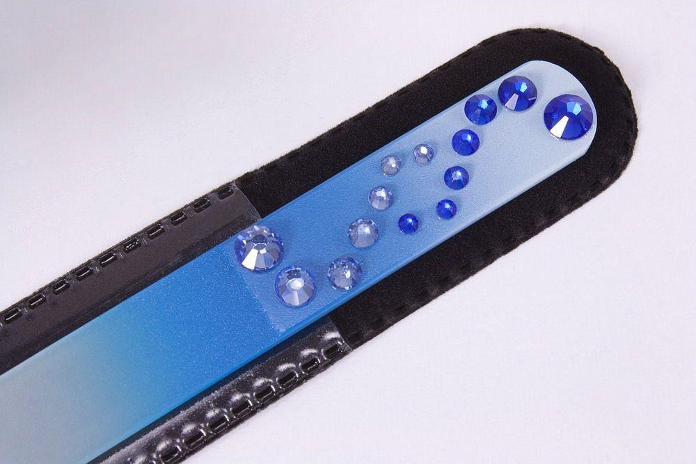 Glasnagelfeile mit Schmuckstein in blau