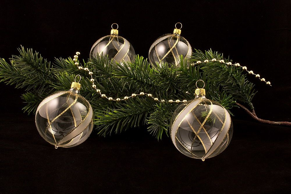 4 große Weihnachtsbaumkugeln 10cm transparent gold gst