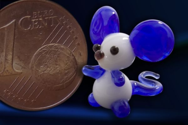 Glasfigur Glasmaus Mini-Maus aus Glas dunkelblau
