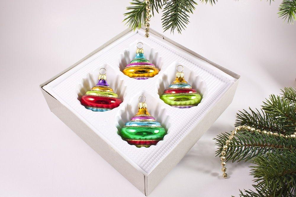 4 bunte kreisel christbaumkugeln aus glas for Bunte lampenschirme aus glas