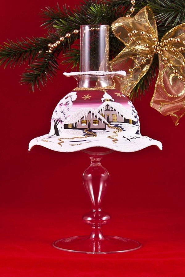 Teelichthalter Set Lampe mit Schirmchen in rot
