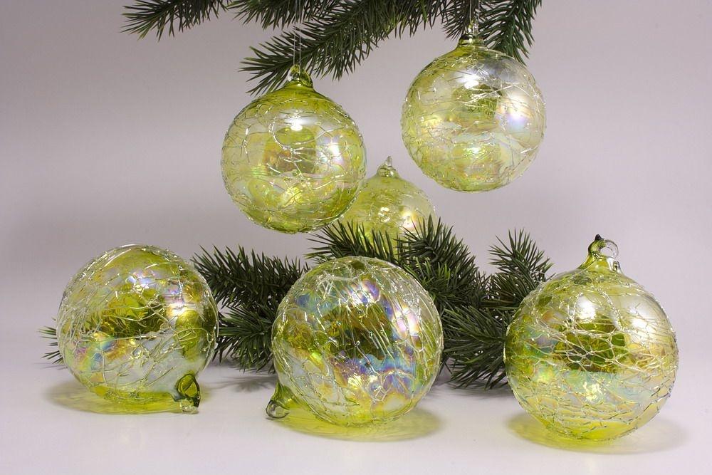 6 Glaskugeln 8cm grün gelüstert
