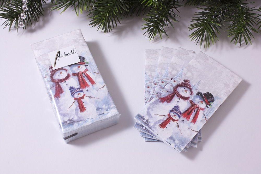 1 Packung Papier-Taschentücher mit Motiv Schneemänner
