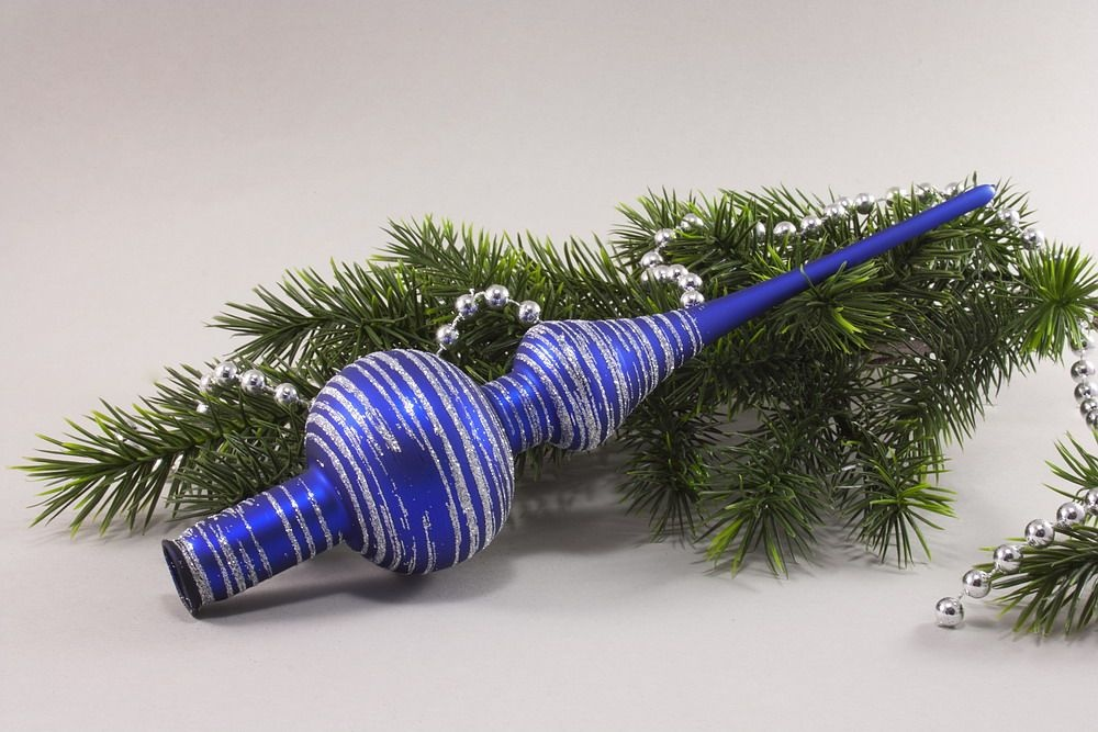 Christbaumspitze blau matt geringelt